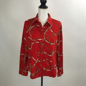 Talbots Stretch Red Equestrian Shirt Top